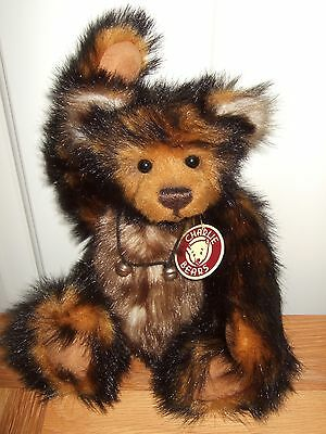 """Charlie Bear """"bentley"""", 12 Inch, 2010, Ginger/blk/cream, Tags,ex Cond. Stunning!"""