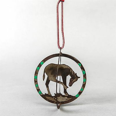 """Rustic Western Metal Christmas Tree Ornament Horse Cut Out Cowboy 3.75"""" Round"""