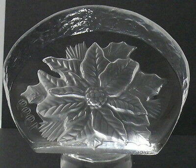 """Glass Paperweight   Thick  1"""" Glass Embedded Flower   1999"""