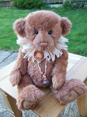Stunning Charlie Bear 'tink', Tan Brown, Cream Ruff,  Bell Necklace And Tag