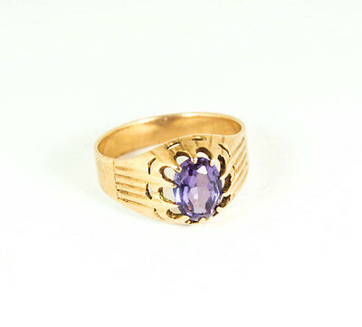14 kt Gold vintage ring with alexandrite from USSR, stamped 583 gold