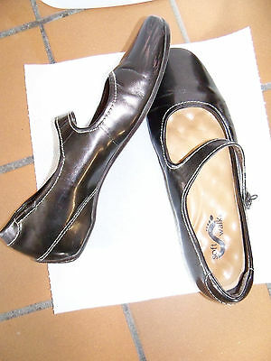 Women SOFT WALK Mary Jane;Patent Genuine leather;Brown;Low 8 1/2