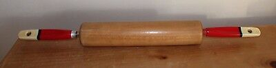 Vintage Skyline wooden rolling pin with red painted handles