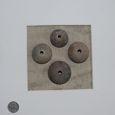 Pre-Columbian ~ ECUADORIAN ~ Pre-Colombian Framed Set of 4 SPINDLE WHORLS ~ NR