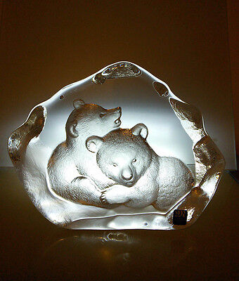 Mats Jonasson Crystal Bear Cubs Sculpture Signed