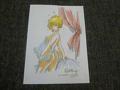Walthery Pin Up  Dessin Original Couleur  Signe  Comme Neuf