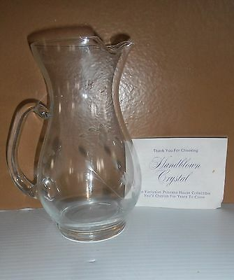 Princess House Etched Crystal Beverage Pitcher Heritage Cat Tail