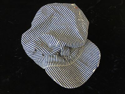 VTG old Railroad Engineer Cap Work Hat Striped Denim Conductor Used AS Found