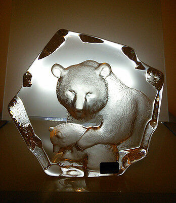 Mats Jonasson Crystal Bear And Cub Sculpture Signed