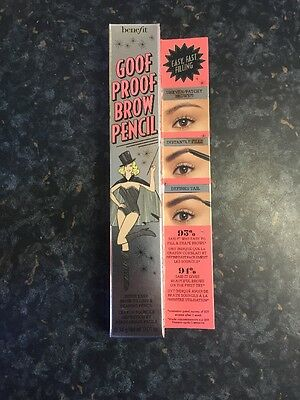 Benefit Goof Proof Brow Pencil - Shade No 1  Full Size 0.34g  Brand New & Boxed