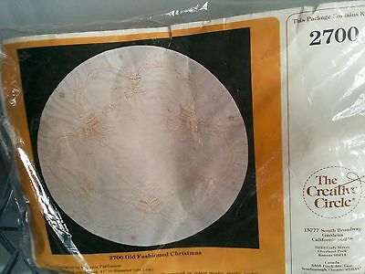 Christmas Tree Skirt or Table Cloth Embroidery Kit - Ivory