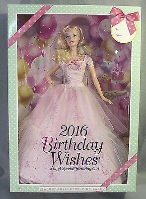 Mattel 2016 Pink Label Birthday Wishes Barbie Doll Blonde NIB NRFB