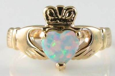 Classic 9K Gold Irish  Aaa Opal Claddagh Heart Ring  Free Resize