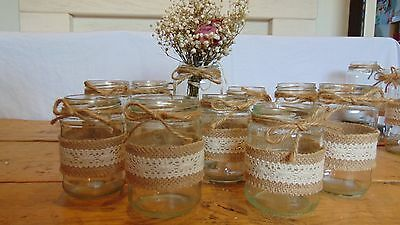 Hessian And Lace Jars X 10 - Wedding Centrepieces Jars