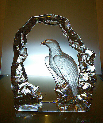 Mats Jonasson Crystal Eagle Sculpture Signed