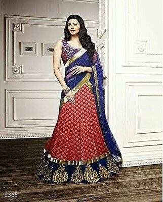 Indian Pakistani Ladies Embroidered Party Lengha Saree Dress Red Blue Gold