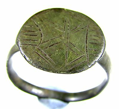 Superb Ancient Roman Bronze Legionary Ring With Decoration - Wearable - A1