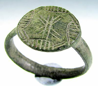 Superb Medieval Knight's Era Bronze Ring With Cross Motif - Wearable - A2