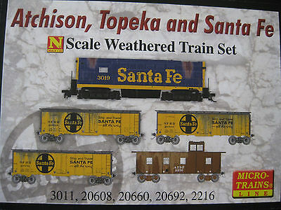 Micro-Trains# 99301280  Weathered Atchison, Topeka & Santa Fe Train Set NIB
