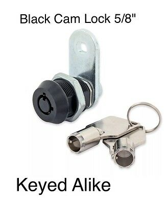 "Universal Black Tubular Cam Lock Replacement 5/8"" Cylinder, 2 Keys Keyed Alike"