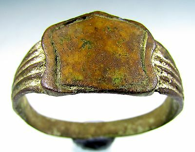 Rare Post Medieval Bronze Decorated Wedding Ring - Wearable - A3