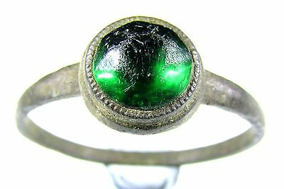 Scarce Medieval Bronze Ring With Green Gem/stone In Bezel- Wearable - A4
