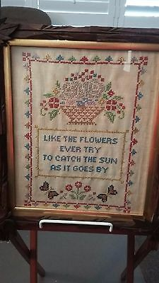 Embroidered wall Sampler, Undated, Super early walnut frame