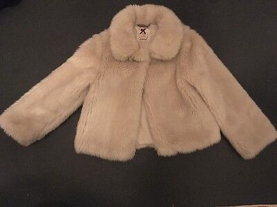 Girls M&S Autograph Cream Fur Jacket Age 7-8 Yrs