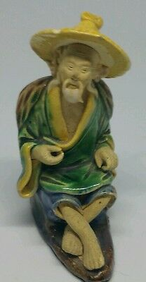 Vintage Chinese Mudman Figure With Yellow Hat