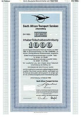 South African Transport Services - Johannesburg - 1.000 DM - 1982 Muster