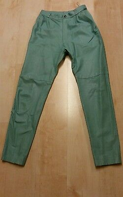 Men's Vintage 1980's Light Green Leather Trousers 28W X 31L
