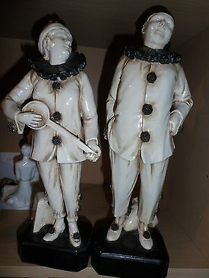 2 antique bretby pottery pierrot clowns minstral with banjo and singer