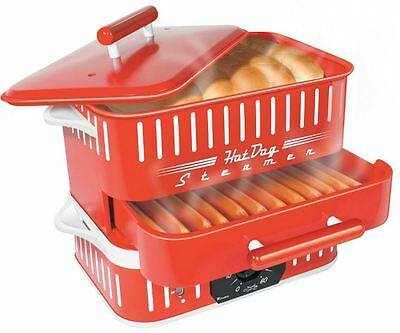 Hot Dog Steamer Cooker And Bun Warmer Countertop Electric Timer Commercial Red