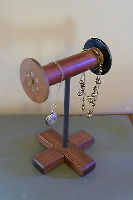 Antique Wood Textile Spool Primitive Industrial Style Jewelry Holder STEAMPUNK