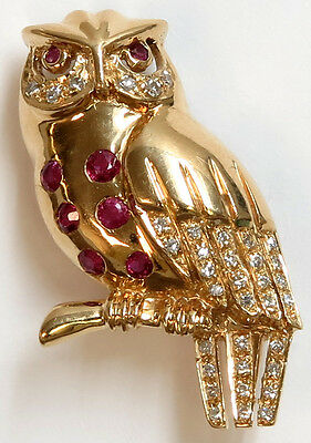 18K Yellow Gold Ruby and Diamond Owl Pin