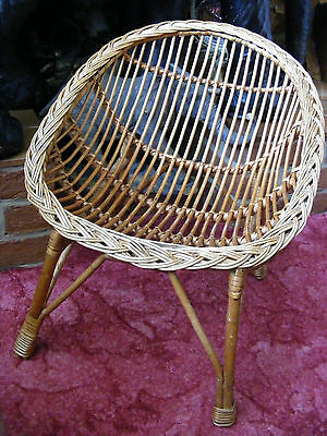 Vintage Small Cane Rattan Wicker Kids Children Chair Dolls & Teddies Collectors
