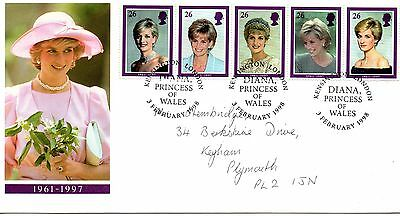 1997 Diana Princess Of Wales Illustrated Cover Strip 5 Stamps Set