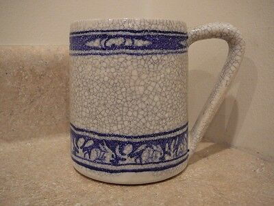 Old Dedham Art Pottery Crouched Rabbit Mug Cup Tankard Square Stamp Incised Mark