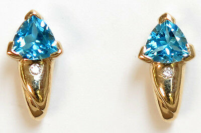 14k solid yellow gold Swiss Blue Topaz=1.00ct and diamond Earrings