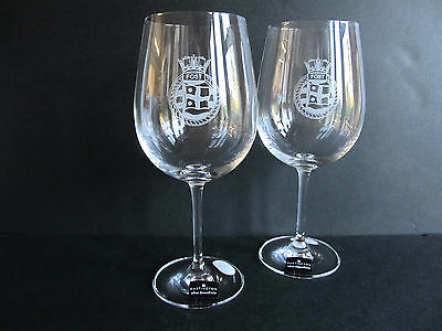 Engraved Dartington Large Crystal Wine Glasses Boxed Pair - FOST - Royal Navy