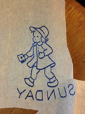Vintage embroidery transfers, days of week, children, boats, animals