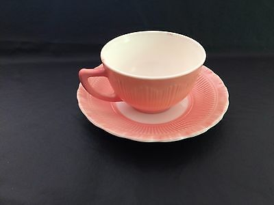 Rare Macbeth-Evans Cremax Bordette PINK opaque textured glass cup and saucer