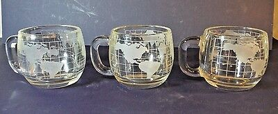 Set of 3 Vintage 1970s NESTLE Nescafe Glass World Globe Map Coffee Cups Mugs