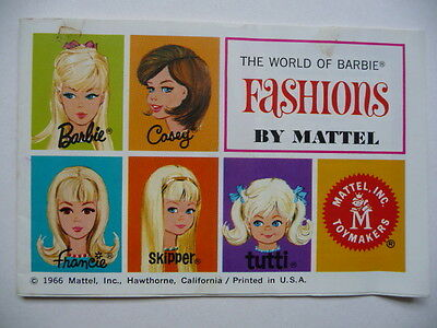 The World Of Barbie Fashions By Mattel - Vintage Pamphlet Booklet