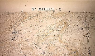 Original WWI 1917 French Printed Battle Map of St. Mihiel... RARE!!