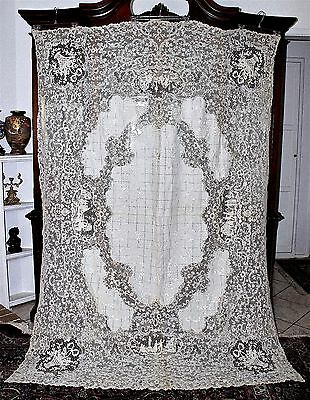 c'19C Flanders or Milanese Bobbin Lace Tablecloth Throw Figural Vignettes 95x67
