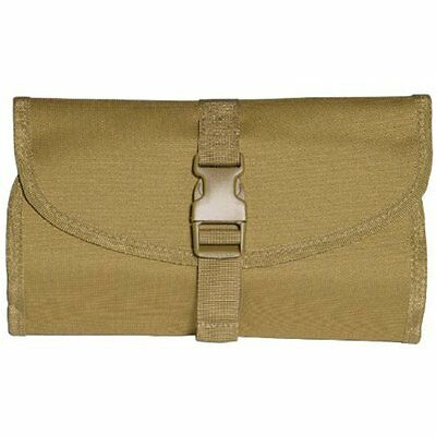 British Army Foldable Lightweight Wash Bag with Hanging Hook & Mirror Coyote Tan