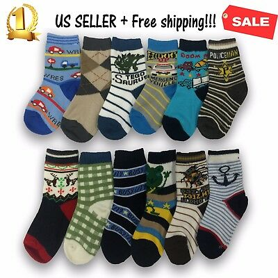 3,6,12 Pairs New Cotton Boys Fashion Cute Ankle Cut Casual Socks Athletic Color