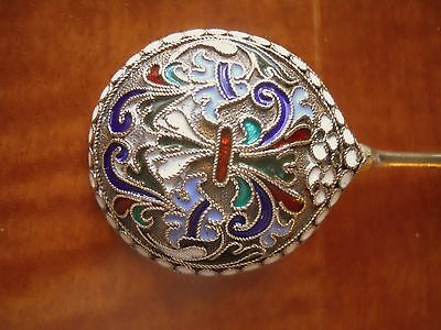 "Antique Russian Gilded Silver&Cloisonne Enamel Round Bowl 5"" Spoon.Outstanding!"