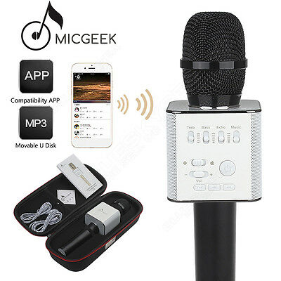 Q9 Microphone Wireless Bluetooth KTV USB Play Black For Android IOS Smartphone